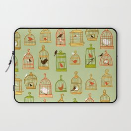 Bird Cages on Green Laptop Sleeve