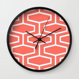 Coral Art Deco Geometric Pattern Wall Clock
