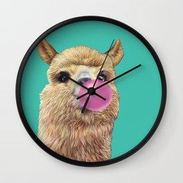 cute alpaca blowing bubble Wall Clock