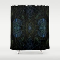 techno Shower Curtains featuring Techno Archeology by writingoverashes