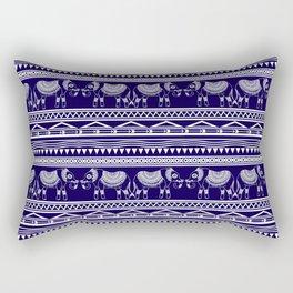 White and Navy Blue Elephant Pattern Rectangular Pillow