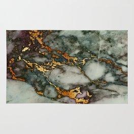 Gray Green Marble Glitter Gold Metallic Foil Style Rug