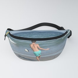 Boy Playing Soccer on the Beach Fanny Pack
