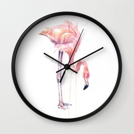 Flamingo Painting Watercolor Wall Clock