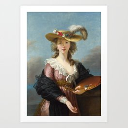 Self Portrait in a Straw Hat, Elisabeth Louise Vigee Le Brun, 1782 Art Print