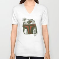 boba V-neck T-shirts featuring STARWARS Boba by Tim Lee