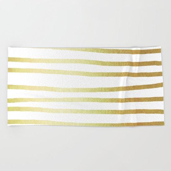 Simply Drawn Stripes 24k Gold Beach Towel