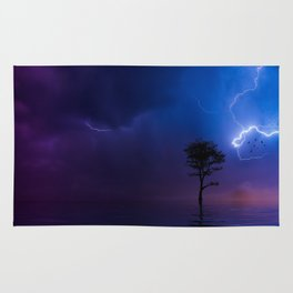 Gorgeous Lightning Flashing with a Solo Tree Rug