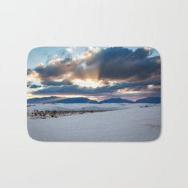 One More Moment - Sunbeams Burst From Clouds Over White Sands New Mexico Bath Mat