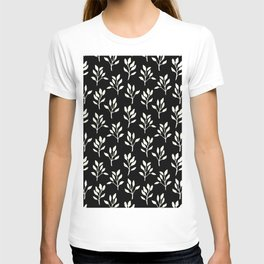 Modern ivory black hand painted watercolor floral pattern T-shirt