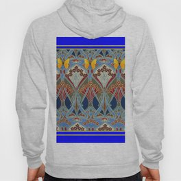Ornate blue & Yellow Art Nouveau Butterfly Red Designs Hoody