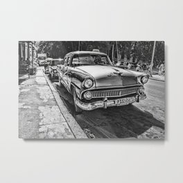 Havana, Cuba '57 Taxi Street Scene Black and White Photographic Art Print Metal Print