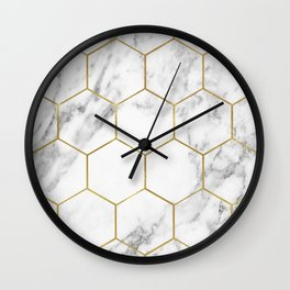 Gold marble hexagon pattern Wall Clock
