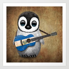 Baby Penguin Playing Salvadorian Flag Acoustic Guitar Art Print