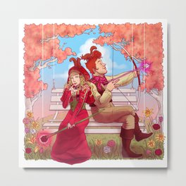 Witch and Wizard of Valentines Metal Print