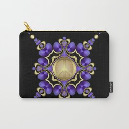 Purple Satin Golden Peace Carry-All Pouch
