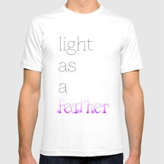 Light as a Feather SMALL White Mens Fitted Tee