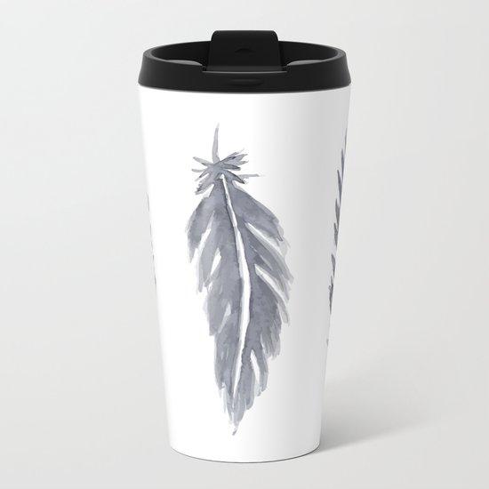 Black watercolor feathers Metal Travel Mug