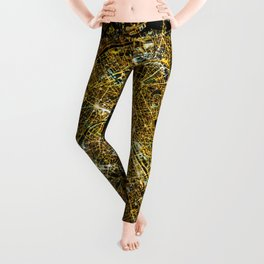 Paris France - Abstract Night City Map Leggings