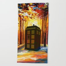 Tardis in the Forest Beach Towel