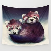 pandas Wall Tapestries featuring red pandas by Laza Alexandra