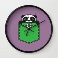 pocket Wall Clocks featuring Pocket Panda by Steven Toang