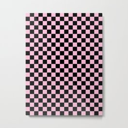 Black and Cotton Candy Pink Checkerboard Metal Print