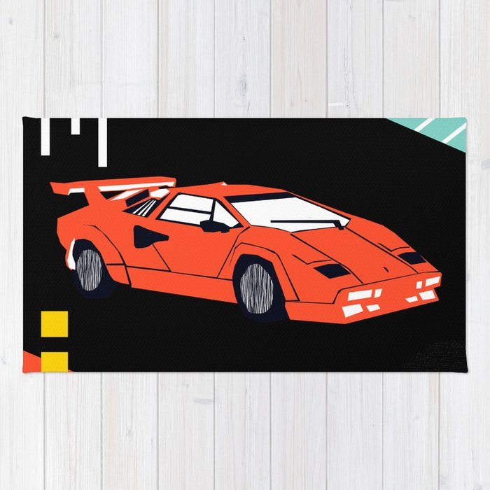 Wicked - sports car 80s retro throwback memphis style motorhead Rug ...