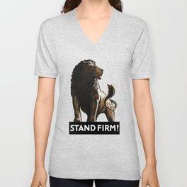Stand Firm Lion -- WWII Propaganda Unisex V-Neck