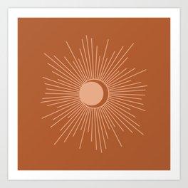 Sun and Moon Minimalist Sunburst in Terracotta Earth Tones Art Print