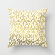 White and Gold Snowflake Pattern Throw Pillow