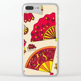 Colorful Fans Red Clear iPhone Case