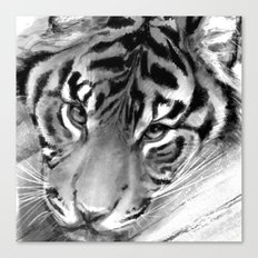 Tiger - Black and White Canvas Print