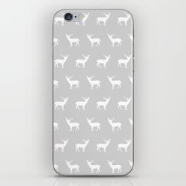 Deer pattern minimal nursery basic grey and white camping cabin chalet decor iPhone Skin