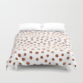 Rose Gold copper sparkle modern dots polka dots rosegold trendy pattern cell phone accessories Duvet Cover