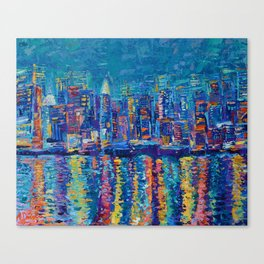 """New York - The City That Never Sleeps"" Palette Knife City Landscape by Adriana Dziuba Canvas Print"