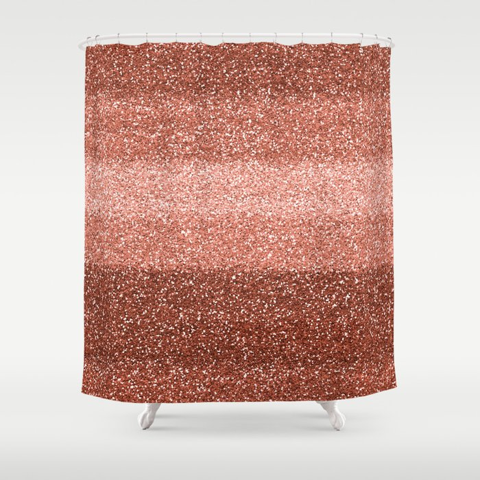 Rose Gold Sparkle Shower Curtain
