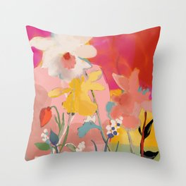 blooming abstract pink Throw Pillow