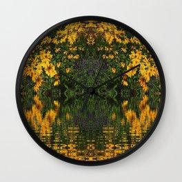 YELLOW RUDBECKIA DAISIES WATER REFLECTIONS Wall Clock