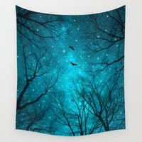 jazzberry blue Wall Tapestries featuring Stars Can't Shine Without Darkness  by soaring anchor designs