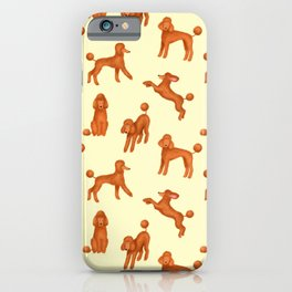 Red Poodles Pattern (Light Yellow Background) iPhone Case