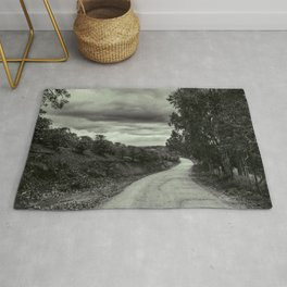 Rural Road - Black and White Rug