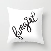 fangirl Throw Pillows featuring fangirl by Fortissimo6