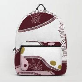 Abstract Shapes & Leaves in Maroon & Metallic Gold Flecks Backpack