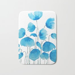 blue poppy field watercolor Bath Mat