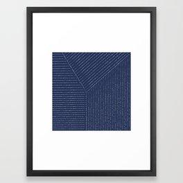 Lines / Navy Framed Art Print