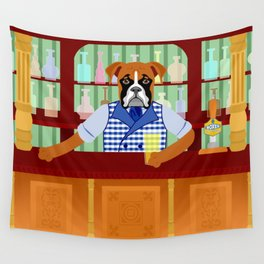 Boxer Dog Beer Pub Wall Tapestry