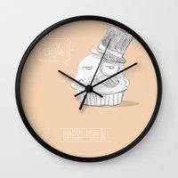 british Wall Clocks featuring british muffin by G. Cicero