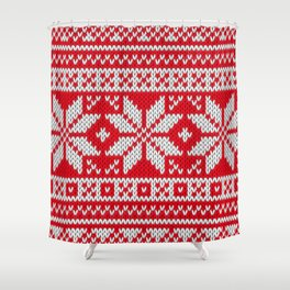 Winter knitted pattern 3 Shower Curtain