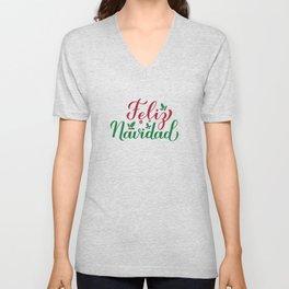 Feliz Navidad calligraphy hand lettering. Merry Christmas in Spanish. Unisex V-Neck